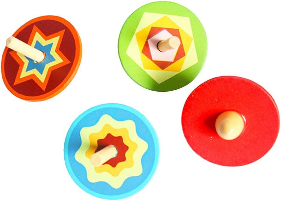 jojofuny 4pcs Wooden Overseas Max 51% OFF parallel import regular item Spinning Toys Tops Colorf Handmade