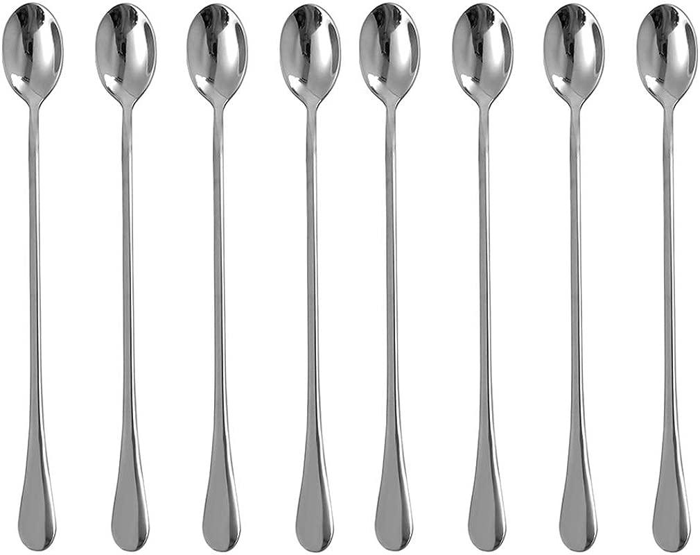 Eslite 9 25 Inch Long Handle Iced Tea Spoon Stainless Steel Stirring Spoons 8 Piece