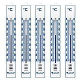 Lantelme 4086 Pack de 5 thermomètres analogiques intérieur/extérieur/Jardin - en Plastique - Blanc