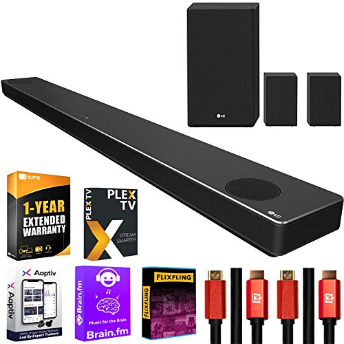 LG SN11RG 7.1.4 ch High Res Audio Sound Bar with Dolby Atmos and Surround Speakers Bundle with 1 Year Extended Coverage