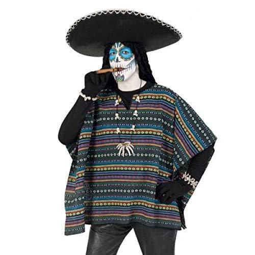 KarnevalsTeufel Kostüm Set Poncho und Sombrero 2-TLG. Hut Mexikaner in schwarz Poncho EL Taco bunt gestreift Dia de Los Muertos