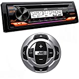 JVC KD-T91MBS Marine Stereo w/CD, BT, USB, SiriusXM Ready, Amazon Alexa + RM-RK62M Wired Marine Remote Control