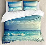 <span class='highlight'><span class='highlight'>JamirtyRoy1</span></span> Ocean Duvet Cover Set Double Size, Tropical Island Paradise Beach at Sunset Time with Waves and The Misty Sea Image, Decorative 3 Piece Bedding Set with 2 Pillow Shams, Cream Turquoise
