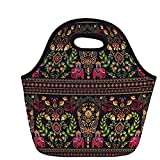 Motif traditionnel coloré Paisley Border Floral Details Elephants Tribal Artwork Decorative, Multicolor, For Kids Adult Thermal Tote Bags