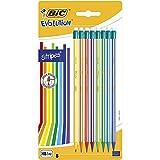 BIC Evolution Stripes avec Gomme Crayons à Papier HB avec Gomme Intégrée - Couleurs Assorties, Blister de 8