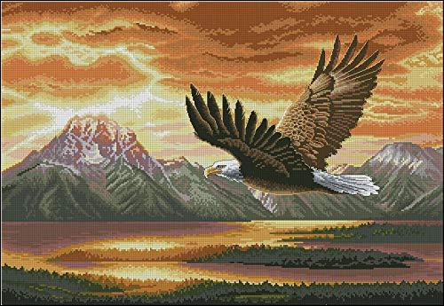 Kits de punto de cruz estampados, kits de manualidades de bordado, colección de oro, hermoso kit de punto de cruz contado, vuelo silencioso, atardecer, amanecer, águila iluminada por el sol, pájaro,