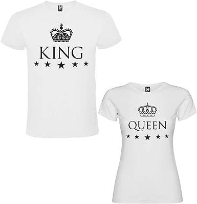 Pack de 2 Camisetas Blancas para Parejas, King y Queen, Negro