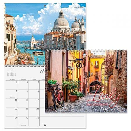 """2022 Italy Wall Calendar - 12"""" x 9"""" (Closed), Bookstore Quality, Spiral Bound"""