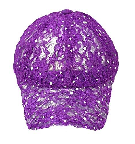 Home-X Lace Ball Cap for Women, Glitter Baseball Cap. Purple