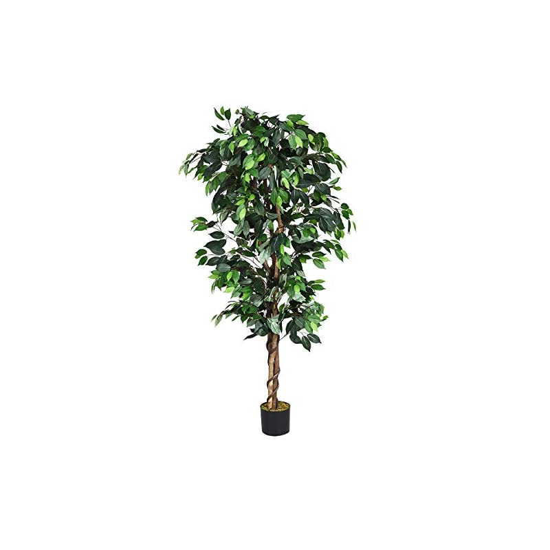 silk flower arrangements goplus 6ft artificial ficus silk tree, fake plant in pot for home and office decor