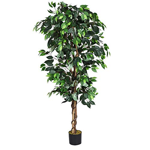 Goplus Artificial Ficus Silk Tree, Fake Plant in Pot for Home and Office Decor