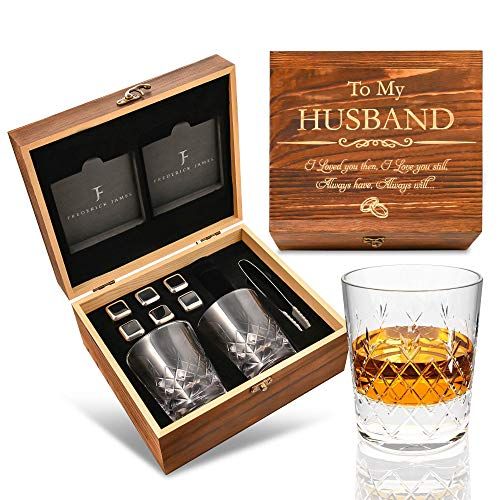 Anniversary/Birthday Gifts for Husband from Wife - Whiskey Stones Gift Set   Gifts for Men/Him   Crystal Whiskey Glass Set with Chilling Stones & Coasters