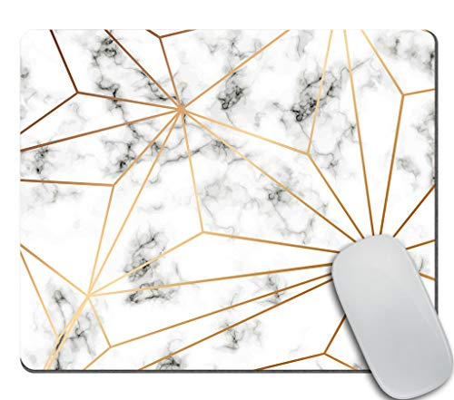 Amcove Marble Texture Design with Golden Geometric Lines Office Mousepad, Black and White Marbling Surface Mouse Pad, Office Decor for Men Women, Office Gifts, Desk Decor