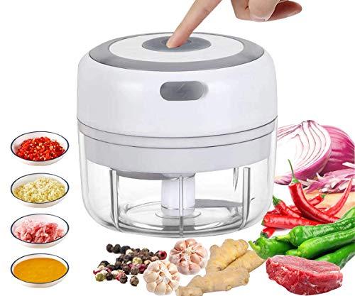 VOUM Mini Electric Food Chopper, leistungsstarker schnurloser elektrischer Gemüsehacker/Obsthacker/Knoblauch/Gemüse/Fleisch usw.Küchenhelfer,USB-Aufladung(100 ml) (weiß)