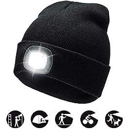 Cappello Uomo Illuminato Berretto 4 LED, Cappello con Luce LED Cappello Uomo Donna Invernali Berretto a 3 Livelli di luminosit LED Beanie cap