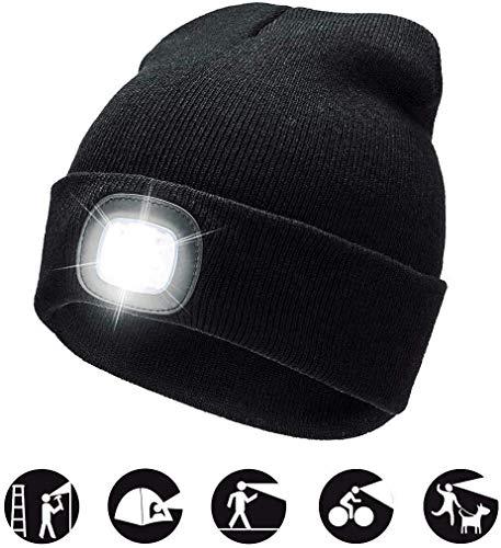 COTOP 4 LED tricoté Chapeau léger Bonnet Chaud Bonnet Hommes et Femmes Trois légèreté Couleur Unie Stretchy & Soft vélo Camping randonnée en Plein air Coiffe Rechargeable