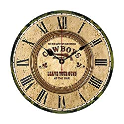 Western Cowboys Leave Your Gun at The Bar Wall Clocks Battery Operated Home Decoration Living Room Bedroom Office 12 Inch