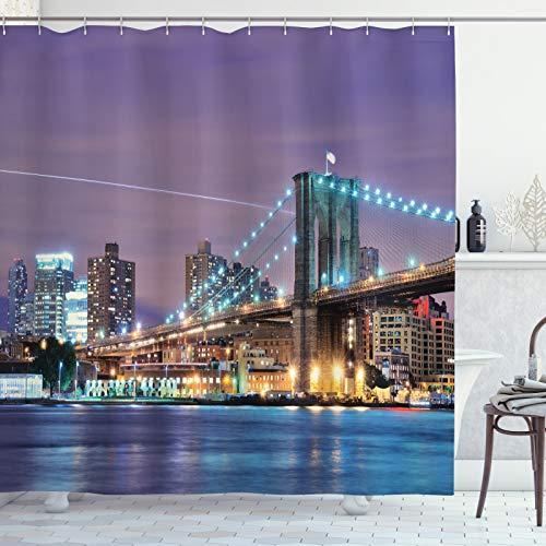 ABAKUHAUS Stadt Duschvorhang, Modernisierte Brooklyn Bridge, Seife Bakterie Schimmel & Wasser Resistent inkl. 12 Haken & Farbfest, 175x240 cm, Mehrfarbig