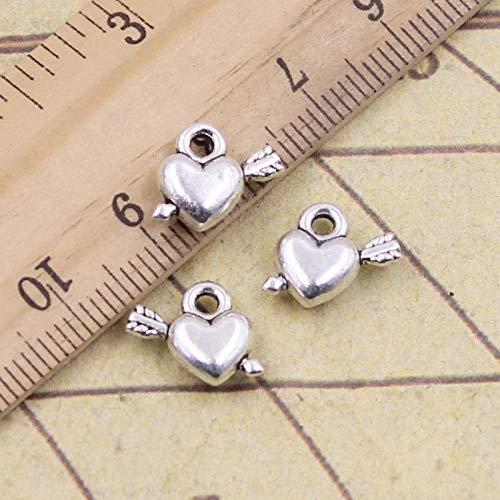 WANM 30 Uds encantos Flecha a través del corazón 10x12mm Colgantes tibetanos Manualidades Haciendo hallazgos joyería Antigua DIY para Collar