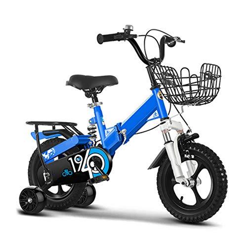 Zuhause Kinder Fahrrad Kinder Fahrrad Mit Ausbildung Räder 12-14-16-18 Zoll Fahrrad, Fahrrad Falten Mountainbike Suspension Gabel Aluminiumlegierung Fahrrad, Blau,18 inch