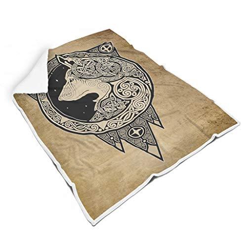 FFanClassic Manta Vikingo Lobo Universal Ocio Ropa Fresca Moda Mantas Envolvente Albornoz – Se adapta a Estudio de Invierno para Adultos/Mujeres/Hombres Regalo Blanco 50x60 pulgadas