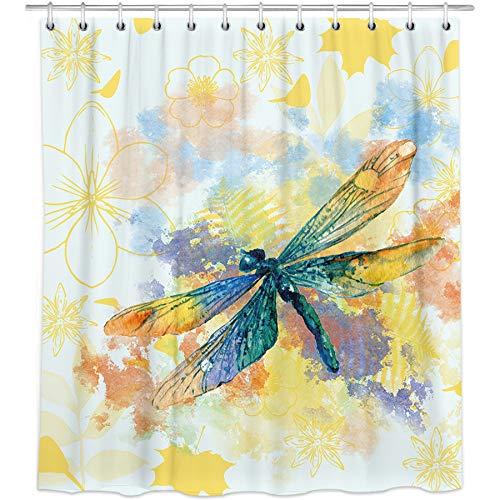 Bonsai Tree Dragonfly Shower Curtain, Waterproof Spring Flowers Bathroom Curtains, Watercolor Nature Fabric Shower Curtains Hooks for Bathroom Decorations, 72'x72'