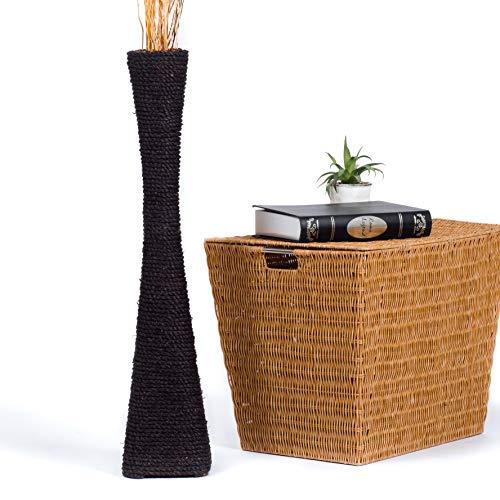 Leewadee jarrón Grande para el Suelo – Florero Alto y Hecho a Mano de bambú y Rafia, Recipiente de pie para Ramas Decorativas, 75 cm, Negro
