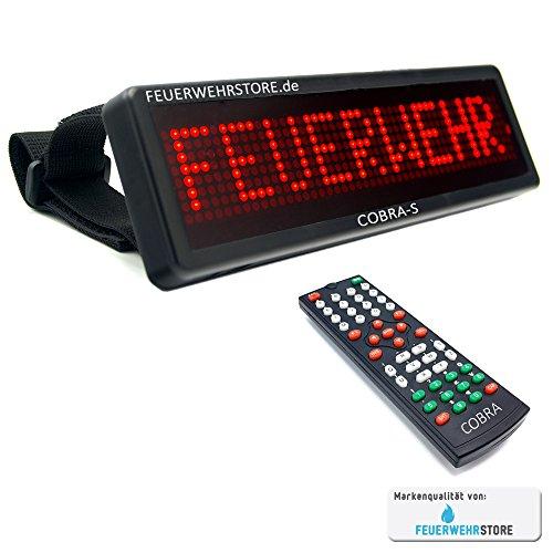 Mobiles LED Einsatzschild Cobra-S mit Akku frei programmierbar - Frontwarnsystem für die Sonnenblende (vorprogrammiert z.B. Feuerwehr im Einsatz, DRK, THW, etc.) (RETTUNGSHUNDE Einsatz)