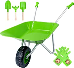 Hortem Durable Kids Wheelbarrow Set, Green Metal Wheel Barrel for Kids and Easy to Assemble, Garden Toy Tools for Gifts