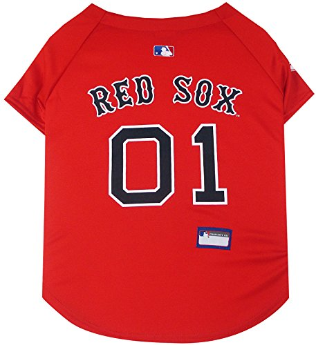 Pets First MLB Boston RED SOX Dog Jersey, X-Small. - Pro Team Color Baseball Outfit