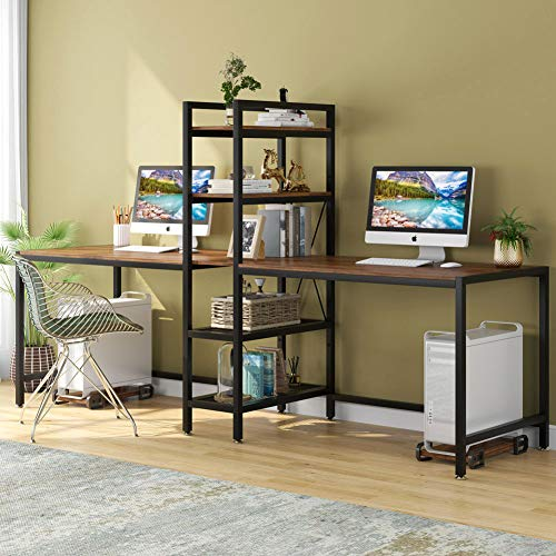 Tribesigns Two Person Computer Desk with Bookshelf, 89 Inches Office Double Desk with 2 CPU Stands, Rustic Writing Desk Workstation Table with Shelves for Home Office for Two Person (Rustic)