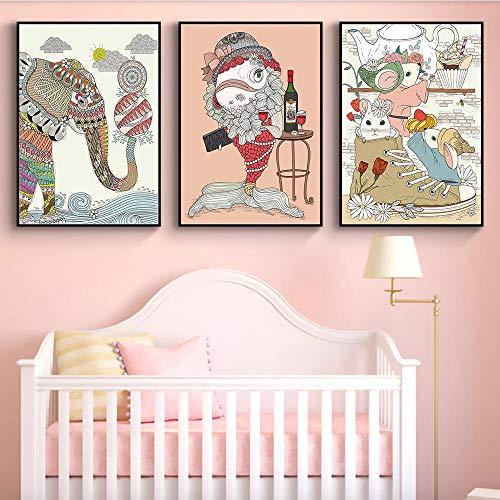 MYSY Cartoon Elefant Rotwein Fisch Glück Kinder Nordic Nursery Leinwand Malerei Vintage Poster Kinder Kinderzimmer Dekor-40x60cmx3 Stück kein Rahmen