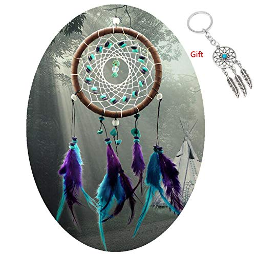 AWAYTR Feathers Dream Catcher Gift Wall Decorations Bedroom Hanging Decor Home Ornament (Turquoise Stone Feather Dream Catcher)