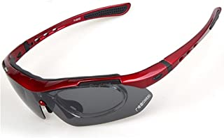 GLJJQMY Outdoor Sports Solar Polarized Interchangeable Outdoor Riding Driving Glasses Suit Sports Sunglasses (Color : Red)