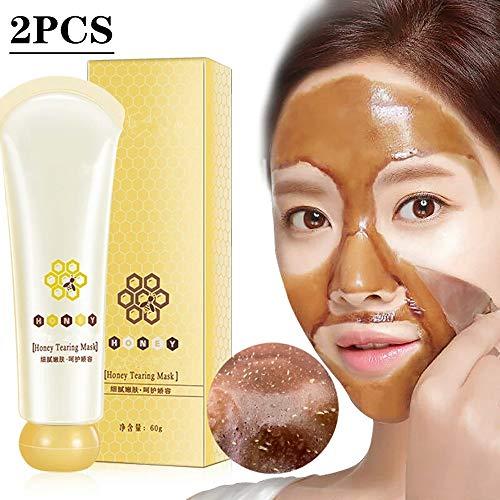 Lzzow Painless Honey Tearing Maske, Peel-Off Brushed Mask - Remover Mask - Tiefenreinigende Mitesser-Peel-Off-Maske für alle Hauttypen (2PCS)