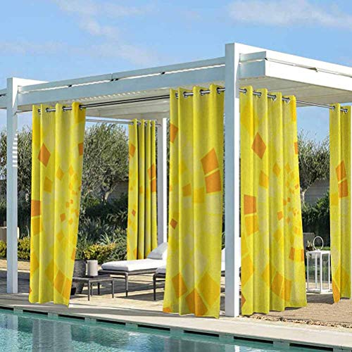 ParadiseDecor Yellow Pergola Outdoor Curtain Panel Curtains Panels for Patio&Garden Hypnotic Mosaic Shaded Circular Motifs Bursting with Curvy Modern Lines Art Print Orange Yellow 108W x 108L Inch