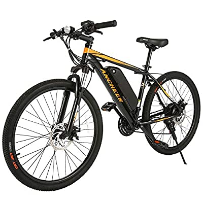 ANCHEER 350W Electric Bike 26/27.5'' Adults Electric Bicycle/Electric Mountain Bike, 20MPH Ebike with Removable 36V 7.8/10.4Ah Battery, Professional 21/24 Speed Gears