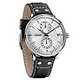FEICE Reloj Automático para Hombres Reloj Mecánico Reloj Bauhaus con Esfera Cepillado Reloj Multifuncional con Calendario Reloj de Pulsera Impermeable Ø41mm FM212