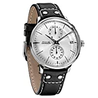 FEICE 自動巻き 機械式 腕時計 メンズ ドーム アナログ 本革 時計 おしゃれ シンプル 男性 時計 ビジネス メカニカル ウォッチ~41mm FM212(シルバー)
