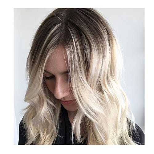 IMSTYLE Femme Style Naturel Perruque Synthétique Résistant à la Chaleur Noir Blond Long Cheveux Bouclé