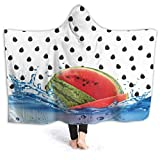XCNGG Manta con Capucha Watermelon Dots Hoodie Wearable Blanket Flannel Surper Soft Sofa Blanket Windproof Hooded Throw Wrap Shawl Thermal Hooded Coat Warm Hoodie Blanket for Bed Couch Car