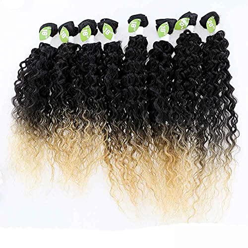 X-TRESS Black Ombre Honey Blonde Kinky Curly Synthetic Hair Weave Bundles 16 18 20 inch 8Pieces Sew-in Weaves 30% Human Hair Weft Extension High Temperature Fibre