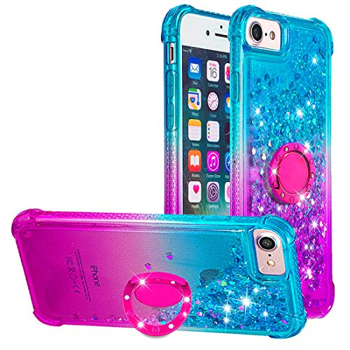 Dclbo - Carcasa para iPhone 6/6S/7/8, diseño de purpurina, Blau und Lila
