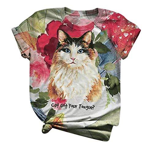 Plus Größe Tops Frauen Kurz Ärmel Bluse 3D Kitty Katze Gedruckt O-Ausschnitt Tee T-Shirt