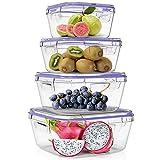 Home Fleek - Envases de Vidrio Cuadrado para Alimentos | Herméticos | Sin BPA (Azul, Set 4)