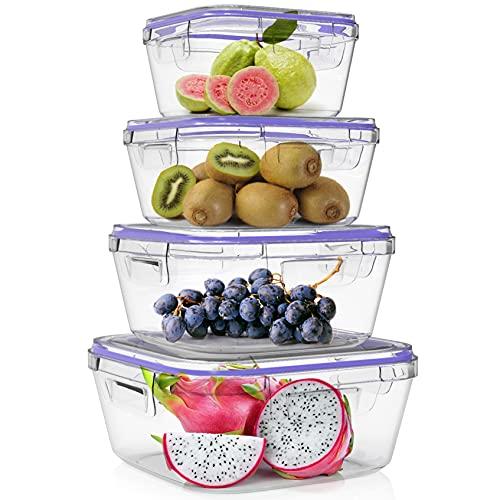 Home Fleek - Envases de Vidrio Cuadrado para Alimentos | Recipientes Herméticos de Cristal | Apto para Lavavajilla, Microondas, Congelador | Sin BPA (Azul, Set 4)