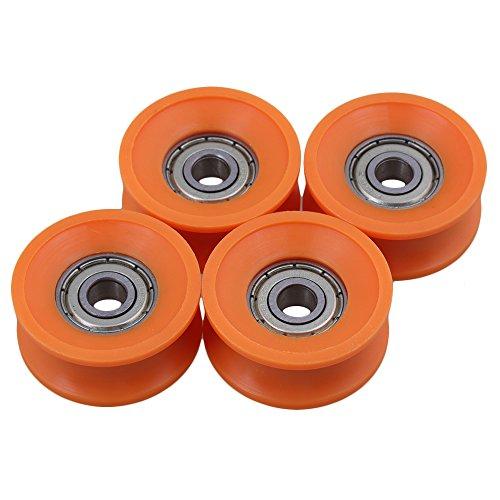 4Stück 6x30x13cm KunststoffBeschichtete versiegelte Lager Stahl 606ZZ tiefe U-Nut Führungsrolle-Schienen Kugel rollendes Rad orange