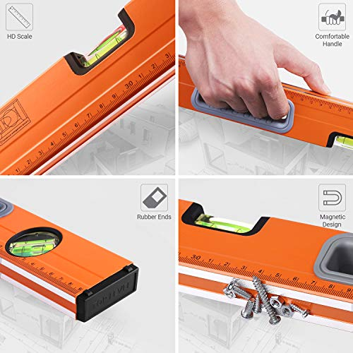 TACKLIFE Level 24-Inch Aluminum Alloy Magnetic Torpedo Level Plumb/Level/45-Degree, Measuring Shock Resistant Spirit Level with Standard and Metric Rulers