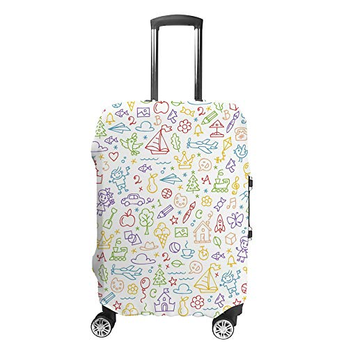 CHEHONG Suitcase Cover Luggage Cover Colorful Outline Doodles Cartoon Travel Trolley Case Protective Washable Polyester Fiber Elastic Dustproof Fits 18-20 Inch