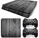 Gam3Gear Vinyl Decal Protective Skin Cover Sticker for PS4 Slim Console & Controller (NOT for PS4 or PS4 Pro) - Gray Wood